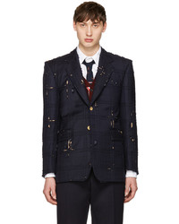 Thom Browne Navy Tartan Wide Shoulder Blazer