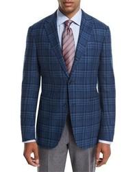 Ermenegildo Zegna Plaid Wool Cashmere Sport Coat Tealblue