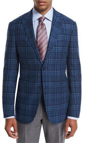 cbc222a0 $1,122, Ermenegildo Zegna Plaid Wool Cashmere Sport Coat Tealblue