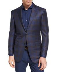 Ermenegildo Zegna Plaid Wool Two Button Sport Coat Navycamel