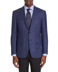 Canali Siena Classic Fit Plaid Wool Sport Coat