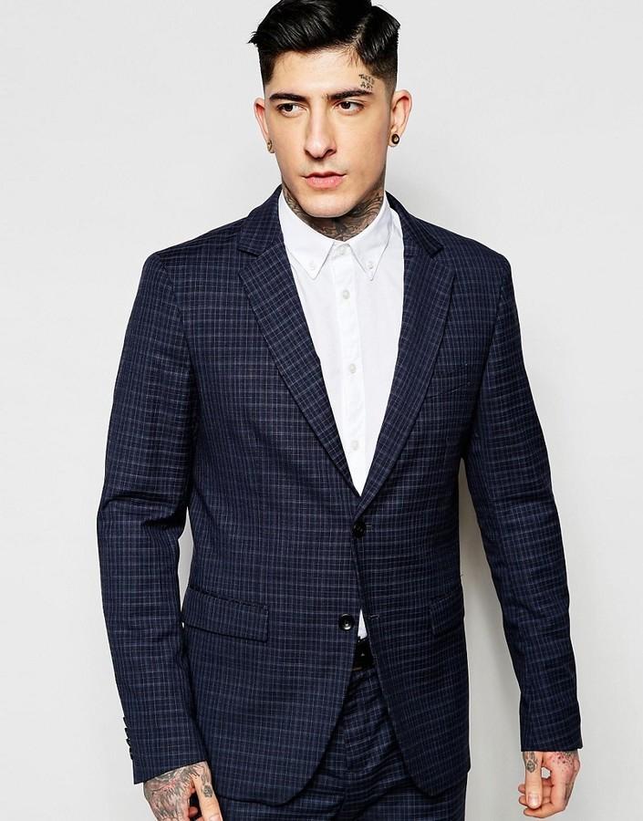 ... Navy Plaid Wool Blazers Sisley Slim Fit Mini Plaid Suit Jacket ... a625ff4e2