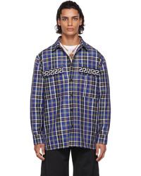 Versace Blue Wool Tartan Shirt
