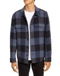 Navy Plaid Wool Shirt Jacket