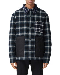 Burberry Hexham Contrast Pocket Check Wool Cotton Overshirt