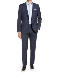 BOSS Hugegenius Slim Fit Plaid Wool Suit