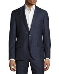 Brunello Cucinelli Plaidwindowpane Slim Fit Two Piece Wool Suit Blue