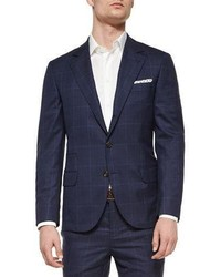 Brunello Cucinelli Plaidwindowpane Two Piece Wool Suit Navy