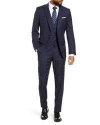BOSS Hugegenius Fit Plaid Wool Three Piece Suit