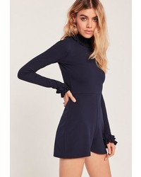 Missguided Navy Frill Detail High Neck Romper