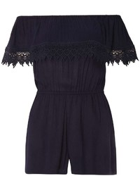 Dorothy Perkins Navy Lace Bardot Playsuit