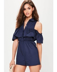 Missguided Navy Poplin Cold Shoulder Frill Romper