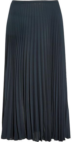 27170dad6 Vince Pleated Chiffon Midi Skirt Navy, $265 | NET-A-PORTER.COM ...