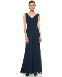 Bridesmaids pleated gown with lace trim medium 228587