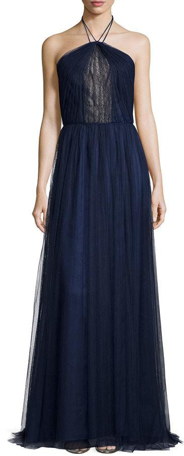 db34142b931 ... Monique Lhuillier Halter Lace Center Pleated Tulle Gown ...