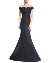 Pleated off the shoulder evening gown midnight medium 694652