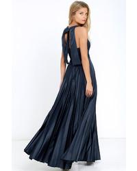 Epic night navy blue satin maxi dress medium 712808