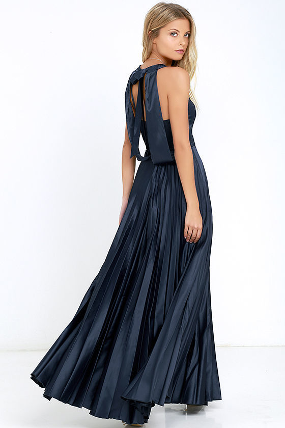 b9c91c79ba LuLu*s Epic Night Navy Blue Satin Maxi Dress, $58 | Lulu's ...