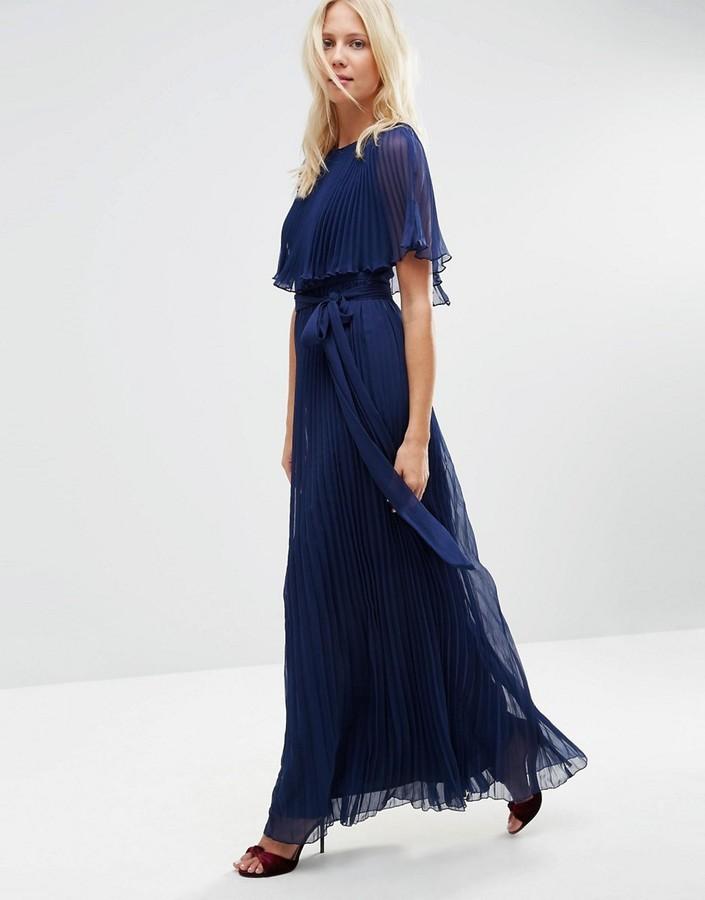 39206e04cb4 ... Asos Ruffle Cape Front Pleated Maxi Dress ...