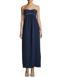 Sail to sable strapless pleated empire waist maxi dress navy medium 712810