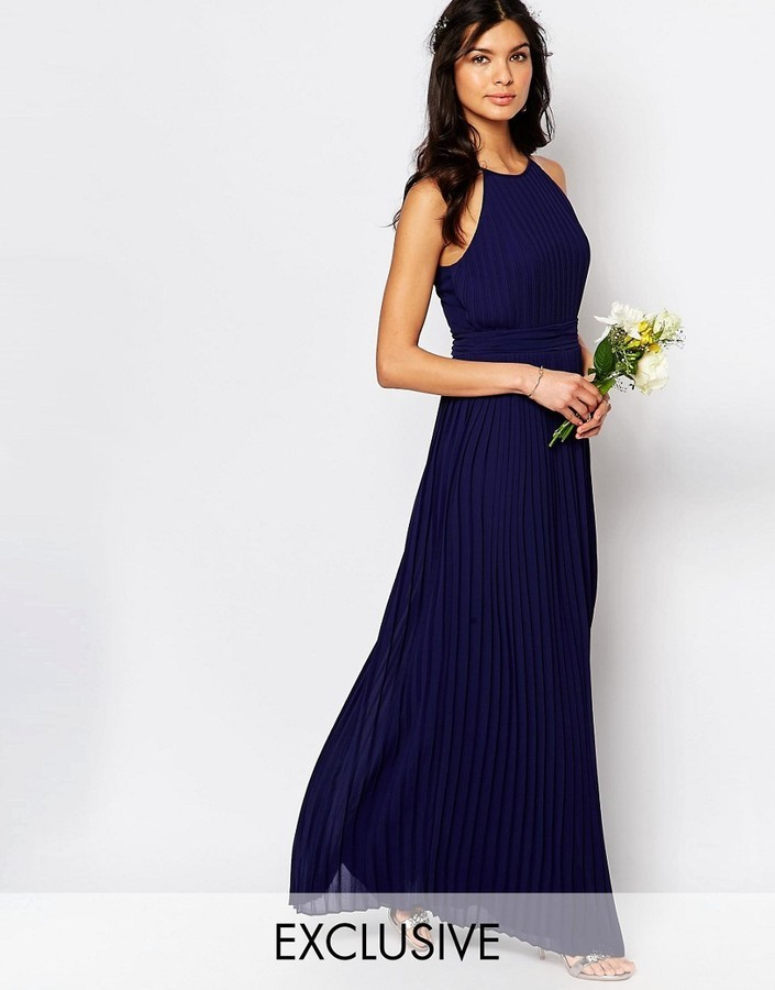 b7ddd7a29c4 ... TFNC Wedding High Neck Pleated Maxi Dress ...