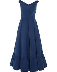 Palmer pleated stretch crepe midi dress indigo medium 3761835