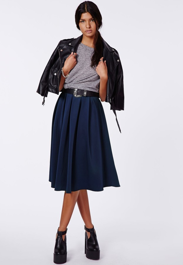 Missguided Auberta Pleated Midi Skirt Navy | Where to buy & how to ...