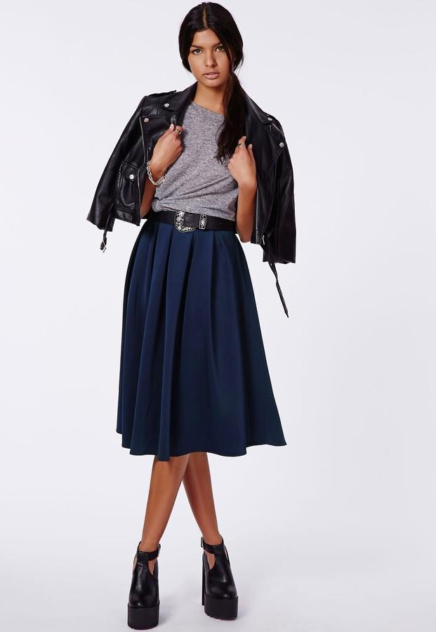 missguided auberta pleated midi skirt navy where to buy