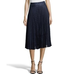 Navy knife pleated check lace midi skirt medium 565762