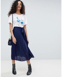 Asos Pleated Midi Skirt With Belt