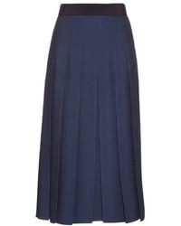 Gucci Pleated Silk And Wool Blend Midi Skirt