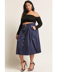 Forever 21 Plus Size Button Front Midi Skirt