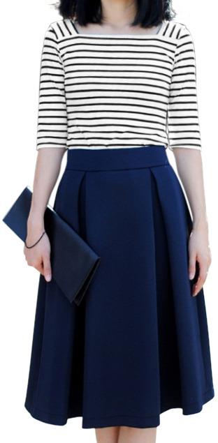 Romwe Pleated Zippered Dark Blue Midi Umbrella Skirt | Where to ...