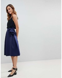 Asos Scuba Prom Midi Skirt With Corsage Detail