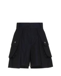 Sacai High Waisted Pleated Shorts