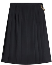 Burberry Pleated Silk Skirt With Chain Embellisht