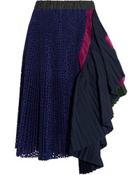 Sacai Asymmetric Organza Trimmed Pleated Jersey And Broderie Anglaise Skirt Navy