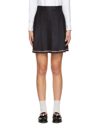 Thom Browne Navy Pleated Miniskirt