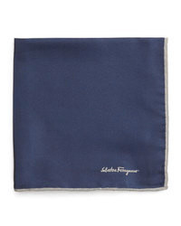 Salvatore Ferragamo Silk Twill Pocket Square Navy