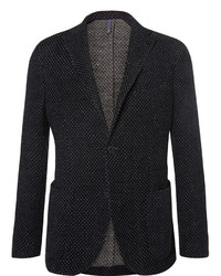 Incotex Blue Slim Fit Polka Dot Wool Blend Jersey Blazer