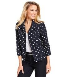 Debbie Morgan Petite Three Quarter Sleeve Polka Dot Linen Blazer