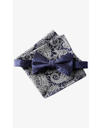 Navy Polka Dot Bow Tie And Paisley Pocket Square