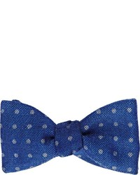 Barneys New York Polka Dot Hopsack Bow Tie Blue