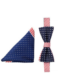 Alara Silk Americana Dots Stripes Bow Tie Pocket Square Set