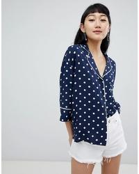 19af2bb6 Navy Polka Dot Button Down Blouses for Women | Women's Fashion ...