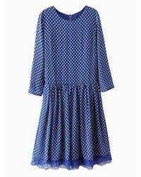 Choies blue polka dot skater dress with lace hem medium 71692