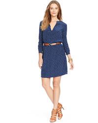 ... Lauren Ralph Lauren Polka Dot Split Neck Dress 3b2cec5b1