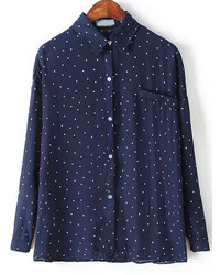 Navy lapel long sleeve polka dot blouse medium 178566
