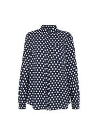 New Look Navy Polka Dot Long Sleeve Shirt