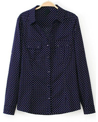 Polka dot pockets blouse medium 178565